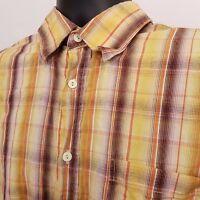 Bugatchi Uomo Long Sleeve Button Up Shirt Men's Size XL Yellow Plaid Checks