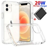 For iPhone 12 Mini 12 Pro Max Case Hybrid Clear Cover + 20W Fast Charger Adapter