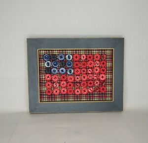 Americana American Flag Buttons Framed Rustic Primitive Look