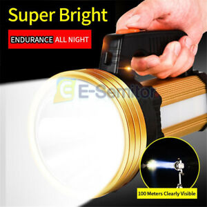 200000LM Super Bright LED Searchlight Rechargeable Handheld Spotlight Flashlight