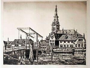"1930's  etching ""The Skinny Bridge"" Amsterdam signed  James P. Power"