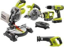 Ryobi ONE+ Power Tool Set Cordless Combo Kit Drill with Miter Saw (5-Tool)