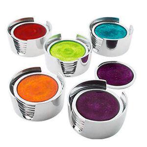 Set of 4 Aluminium Foil Coasters In Holder Red Turquoise Lime Orange Or Purple