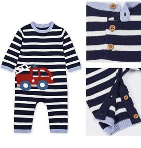 MOTHERCARE Baby Boys Knitted Cotton Romper All In One Striped Navy Fire Engine