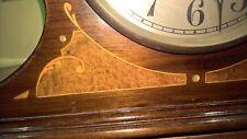 Inlaid large wood chiming mantle clock
