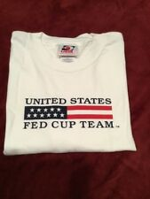 UNITED STATES FED CUP TEAM * White Tee Shirt * 100% Cotton * Adult XLarge