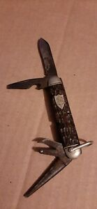 """Antique 1920's Boy Scout Ulster #1502 Bone Handle Pocket Knife """"Nice Condition"""""""