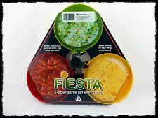 Fiesta 3 Bowl Multi-Color Plastic Dip Serving Set with Stand Dishwasher Safe