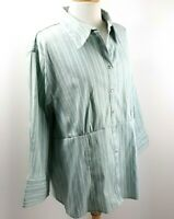 CATO Womens Button-Up Blouse Plus Sz 22/24W Green Striped 3/4 Sleeve Career Top