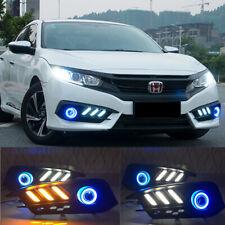 For Honda Civic Sedan 2016-2018 k FISHBONE LED DRL COB Angel Eyes Fog Light Lamp