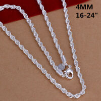 Fashion 925sterling Solid Silver 4MM Snake Rope Chain Men Necklace 16-24 inch