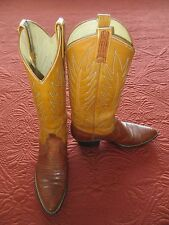 DAN POST WOMEN'S EXOTIC HANDCRAFTED LEATHER LIZARD TAN COWBOY BOOTS 7A