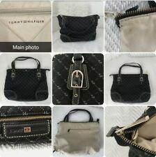 * usado * Ladies Negro Estampado bien Grab Bag ♡ Tommy Hilfiger ♡ faltan Correa Larga!