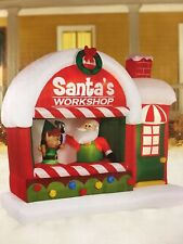 CHRISTMAS SANTA ELF WORKSHOP AIRBLOWN INFLATABLE YARD DECOR  7 FT LONG