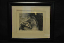 "Original Profile of a Nude Woman Charcoal, Signed Samuel C Lowe '88, 17"" x 22"""
