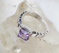 Eckig Modern Silberring 51 Krappen Design Amethyst lila Handarbeit Silber Ring