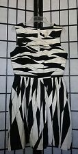 JB Julie Brown Black & White stripes Lined keyhole  Sleeveless Dress Sz 4 ~N6