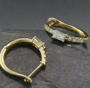 Brillant Diamant Ohrringe 0,44 ct 750er Gelbgold Wert 2.340 Euro Neu Creolen