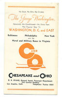Chesapeake and Ohio railroad timetable - The George Washington - 1934 with menu