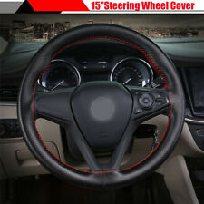"""15"""" 38cm Anti-Slip Leather Car Steering Wheel Cover Protector DIY Hand Sewing"""