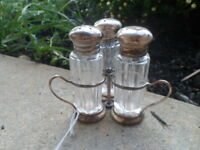Sterling Silver Salt Pepper Sugar Caddy Antique Glass Jars trio server