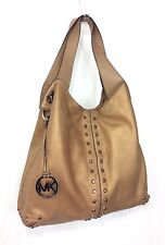 Michael Kors Large Bronze Gold Studded Leather Astor Uptown Hobo Tote Slouch Bag