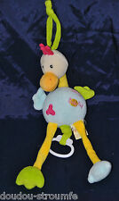 Peluche Doudou Oiseau Musical BABY'NAT BABYNAT Jaune Bleu Vert 35 Cm NEUF