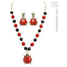 Rouge & noir coccinelle collier & Boucles d'oreilles Set Costume Robe Fantaisie Bijoux