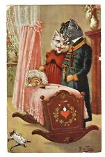 POSTCARD THIELE CATS WITH BABY IN CRADLE (1118)