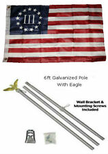 2x3 2'x3' Betsy Ross Nyberg 3 % Percent Flag Galvanized Pole Kit Eagle Top