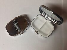 Golf Clubs In Bag pewter effect sport emblem on silver metal pill box