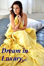 "New Luxurious 100% silk charmeuse Flat Top sheets Flat Royal Gold 90x110"""