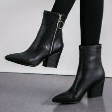 Women's Chelsea Pointed Toe Zip Chunky Heels Oxfords Ankle Boots Outdoor 34-43