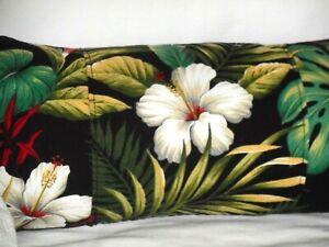 Tropical Hawaiian Cotton Barkcloth Fabric LUMBAR PILLOW ~Hibiscus Garden-Black~
