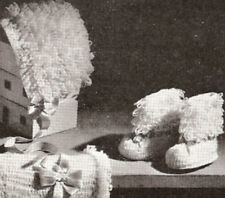 Vintage Crochet PATTERN to make Baby Boots Sacque Bonnet Bootie LoopyBootSet