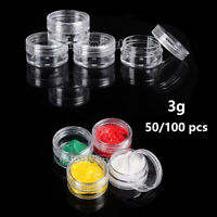 50/100PCS 3 Gram Empty Plastic Bottles Cosmetic Container for Nail Art,Make Up