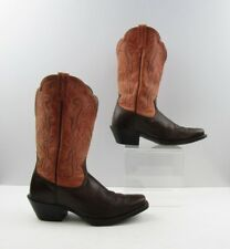 Ladies Ariat Two Tone Brown Pink Leather Square Toe Western Boots Size: 7 B