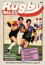 RUGBY WALES No3 Nov 1984 Mag Eddie Butler Graham Price Ray Gravell Lynn Davies