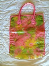 Vintage 60s 70s Clear Vinyl Tote Bag Pink Yellow Flowers w/Handle Good Condition
