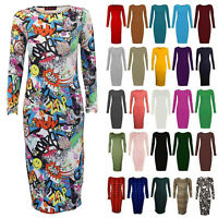 LADIES WOMEN'S LONG SLEEVE PLAIN PRINTED BODYCON MIDI JERSEY DRESS UK