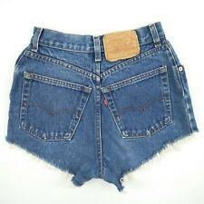 Levi's High Waist Blue Raw Cuff Denim Jeans Shorts Women's Size 24 to 25 Custom
