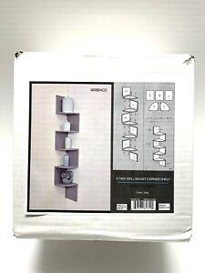 Greenco 5-Tier Wall Mount Corner Wooden Shelves - Gray- NEW IN BOX