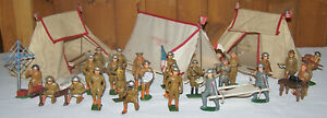 Rare 36 Pcs Lot BARCLAY MANOIL WWI WWII Lead SOLDIER Lot Trench Bags Tents Cots