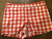 """Brooks Brothers Shorts Women's Red White Plaid Checks 3"""" Cotton Flat Front Sz 8"""