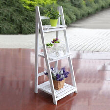 Folding Plant Stand 3 Tier Ladder Shelf Wooden Bookshelf Storage Rack Shelving