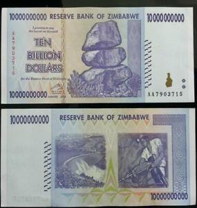 Zimbabwe ten billion dollars banknotes used