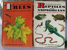 2 Golden Nature Guides  REPTILES & AMPHIBIANS / TREES 1956 Vintage FULL COLOR VG