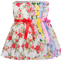 Girls Kids Floral Sleeveless Crew Neck Summer Dress 2-16 Years Bow Dresses Gift
