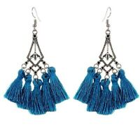 Bohemian Pair of Tear Drop Shape Teal Colour Tassel Dangle Earrings # 182