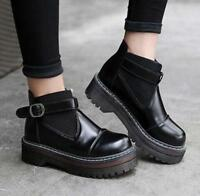 Chic Womens Buckle Gothic Punk Retro Creeper Platform Ankle Boots Round Toe Shoe